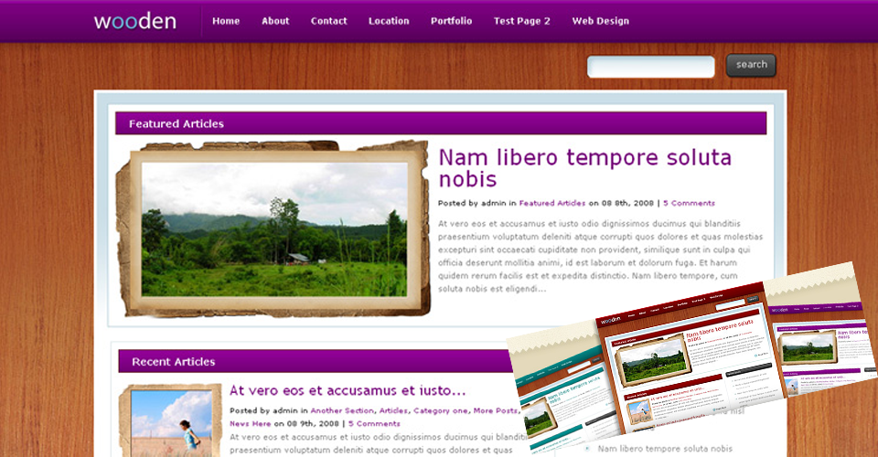 Tema WordPress Wooden - Elegante Templates