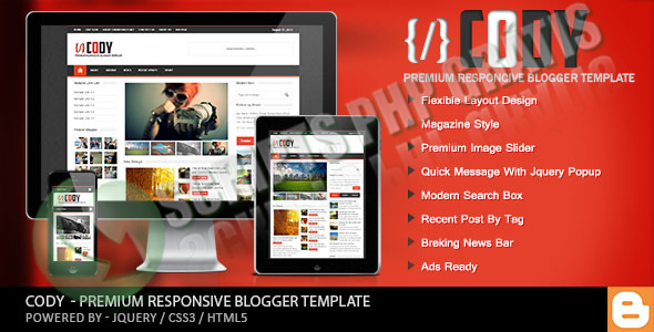 Blogger Template Cody Revista Themeforest Responsive